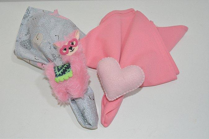 Kit 2 porta guardanapos Feltro Lhama e coração rosa