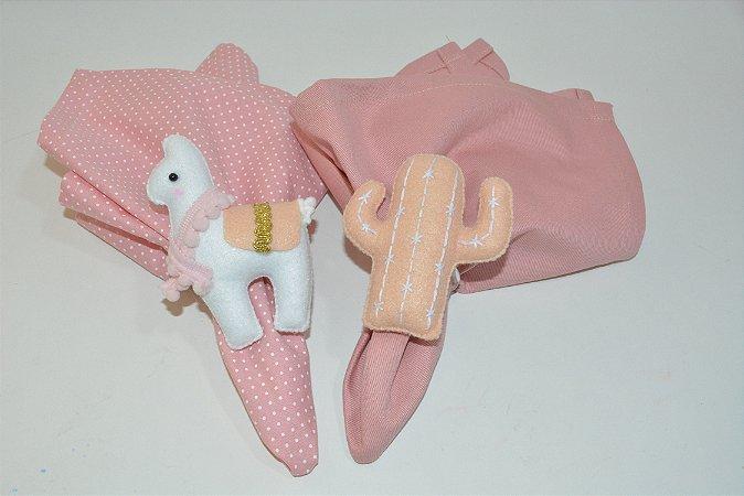 Kit 2 porta guardanapos Feltro Lhama branca e cacto rosa