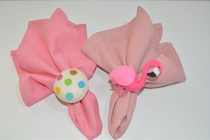 Kit 2 porta guardanapos Feltro flamingo e docinho