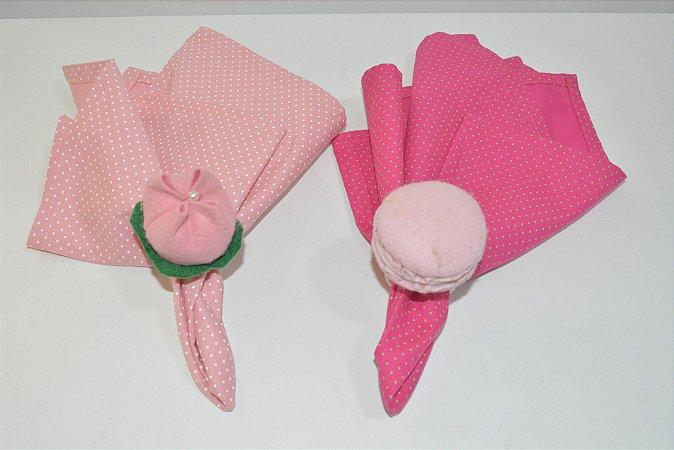Kit 2 porta guardanapos Feltro Flor e Macarons rosa