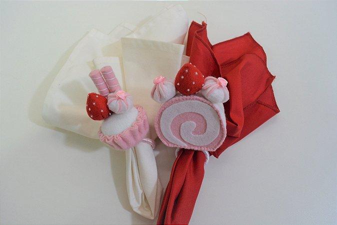 Kit 2 porta guardanapos Feltro confeitos rosa