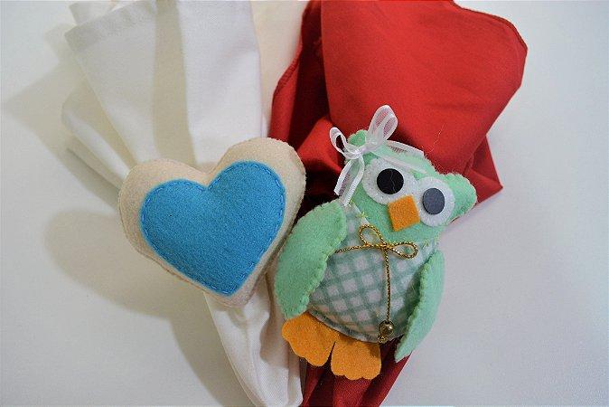 Kit 2 porta guardanapos Feltro coruja e coração