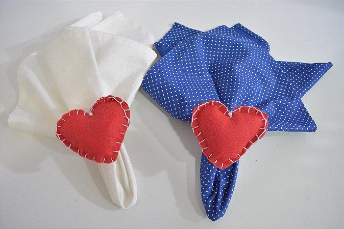Kit 2 Porta guardanapos Feltro corações