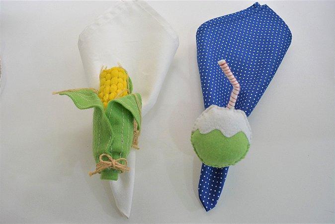 Kit 2 Porta guardanapos Feltro milho e coco