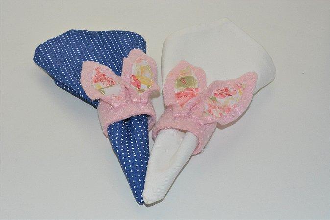 Kit 2 Porta guardanapos Feltro Orelhas rosa com Detalhes floridos