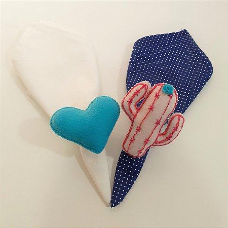 Kit 2 Porta guardanapos Feltro cacto e coração azul