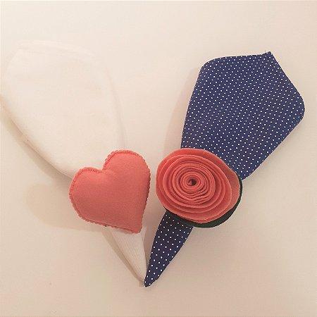 Kit 2 Porta guardanapos Feltro coração e flor salmão