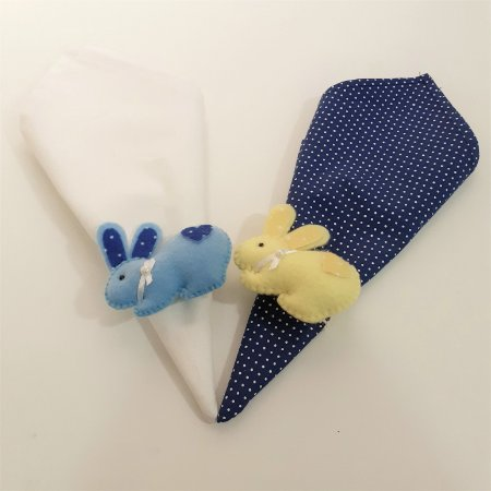 Kit 2 Porta guardanapos Feltro coelhinhos azul e amarelo