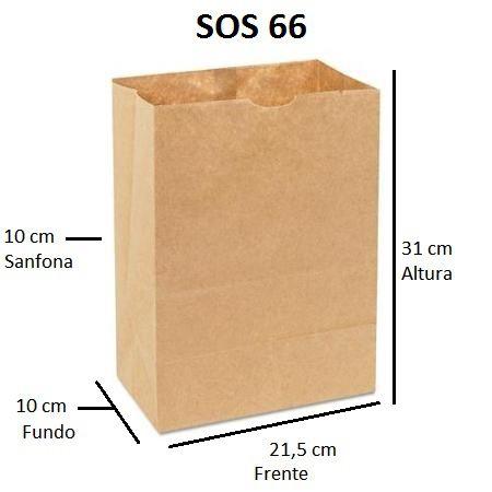 Sacos de Papel 80 gramas - SOS 66 - Sem Alças - FARDO C/ 250 unidades - SEM IMPRESSÃO