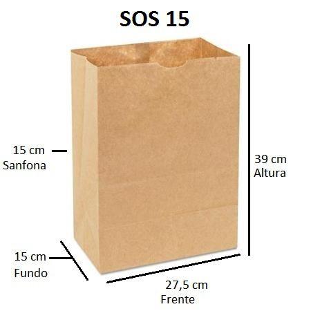 Sacos de Papel 80 gramas - SOS 15 - Sem Alças - FARDO C/ 250 unidades - SEM IMPRESSÃO