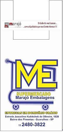 30,000 unidades - Sacolas Plásticas Oxi-Biodegradáveis - Modelo Alça Camiseta - 40x50 - Capacidade 5 Kg - Personalizadas em até 2 cores em 1 lado