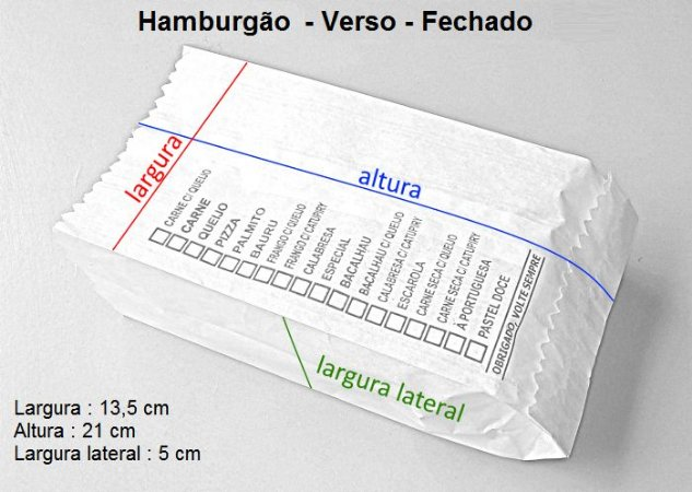10,000 Unidades de Sacos 1ª Linha - Papel branco - HAMBURGÃO - Impresso em até 2 cores