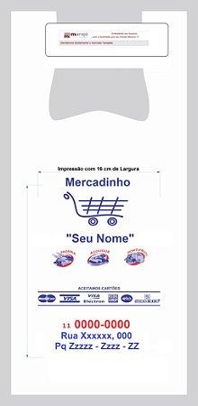30,000 unidades - Sacolas Plásticas Convencionais - Modelo Alça Camiseta - 40x50 - Reforçada - Espessura 0,0030 mm - Semelhante as sacolas utilizadas em Lojas de Auto Peças - Personalizadas em até 2 cores em 1 lado