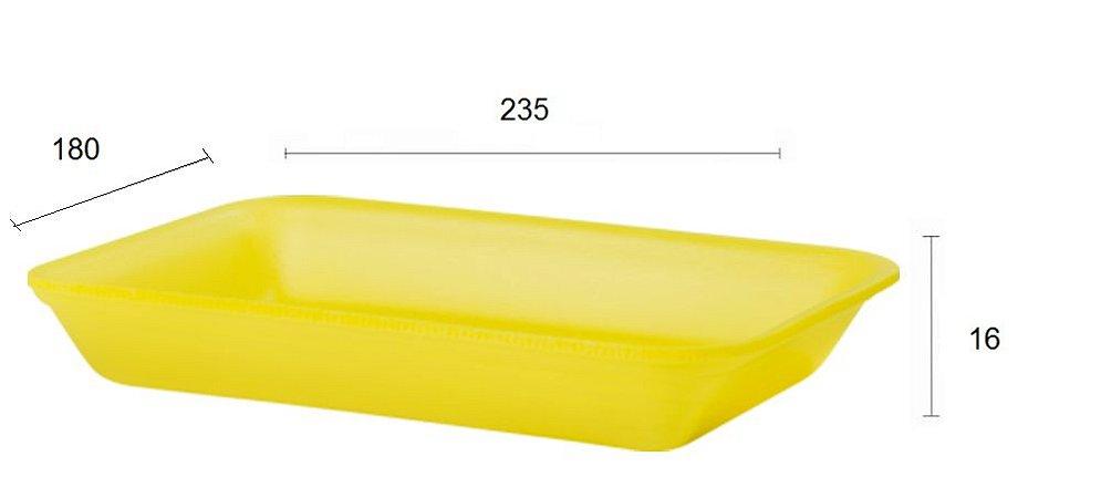 BANDEJA 235X180X16 (B3) - AMARELA RASA - LINHA LEVE - FARDO COM 400 UNIDADES