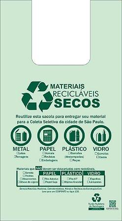 500 unidades - Sacolas Plásticas de Fonte Renovável - 48x55 - CAPACIDADE 9,99 KG - Impressão referente ao descarte de Materiais
