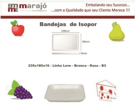 BANDEJA 235X180X16 (B3) - BRANCA RASA - LINHA LEVE - FARDO COM 400 UNIDADES