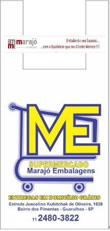 20,000 unidades - Sacolas Plásticas Convencionais - Modelo Alça Camiseta - 40x50 - Capacidade 14 Kg - Personalizadas em até 2 cores em 1 lado