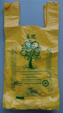 1000 unidades - Sacolas plásticas Oxi-biodegradáveis Amarelas LISAS - Tamanho 40x50 - Capacidade 5 Kg - Impressão sobre o material utilizado em 1 Lado e nas laterais