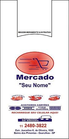 30,000 unidades - Sacolas Plásticas Convencionais - Modelo Alça Camiseta - 35x43 - Capacidade 5 Kg - Personalizadas em até 2 cores em 1 lado