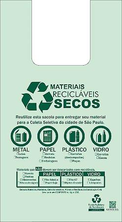 500 unidades - Sacolas Plásticas de Fonte Renovável - 48x55 - CAPACIDADE 15 KG - Impressão referente ao descarte de Materiais