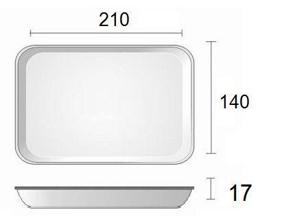 Bandeja de Isopor - 210X140x17 - BRANCA RASA - B 2 - LINHA LEVE - FARDO COM 400 UNIDADES