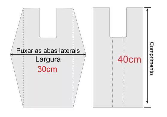 2,500 unidades - Sacolas plásticas Oxi-biodegradáveis - Brancas - LISAS - Tamanho 30x40 - Capacidade 3,5Kg