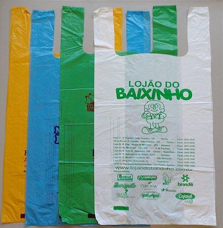 30,000 unidades - Sacolas Plásticas convencionais - Modelo Alça Camiseta - 50x60 - Espessura 0,004 mm - Semelhante as sacolas de Papelarias - Personalizadas em até 2 cores em 1 lado