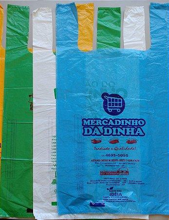 30,000 unidades - Sacolas Plásticas convencionais - Modelo Alça Camiseta - 50x60 - Espessura 0,003 mm - Semelhante as sacolas de Papelarias - Personalizadas em até 2 cores em 1 lado