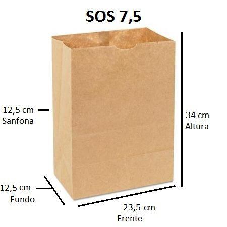 Sacos de Papel 80 gramas - SOS 7,5 - Sem Alças - FARDO C/ 250 unidades - SEM IMPRESSÃO