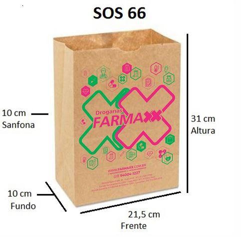 5,000 unidades Sacos Delivery 80 gramas - SOS 66 - Sem Alças - PERSONALIZADOS EM ATÉ 2 CORES