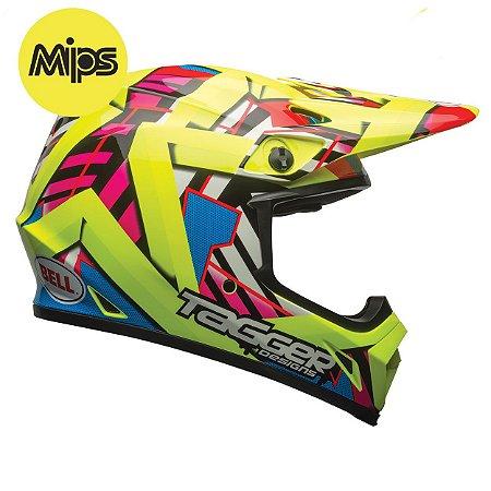 CAPACETE BELL MX-9 DOUBLE TROUBLE HI VIZ YELLOW MIPS