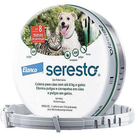 Coleira Anti Pulgas e Carrapatos Seresto para Cães e Gatos até  8 Kg