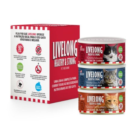 Kit Variedades Livelong - Gatos (3 latas)