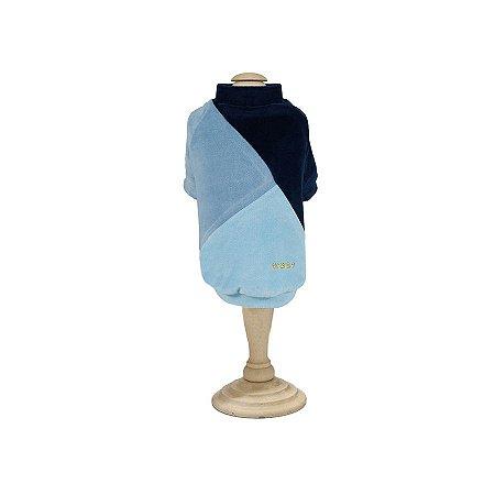 Casaco Plush Recortes Azul