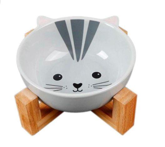 Comedouro em Cerâmica e base em Bambu -Cat