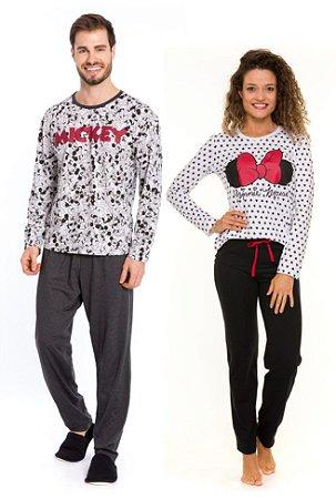 Pijama Casal Mickey e Minnie - Disney Adulto - Cinza