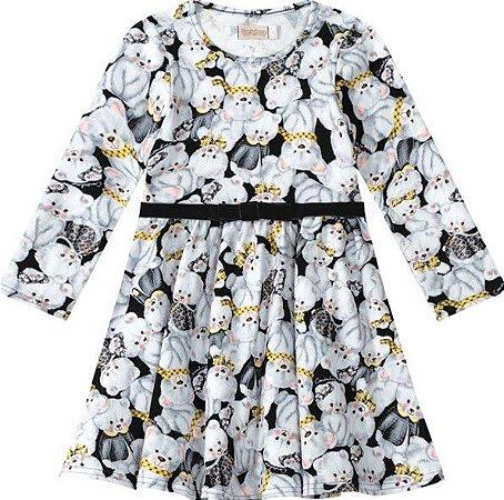 Vestido Infantil Ursinho Branco e Preto - Malwee
