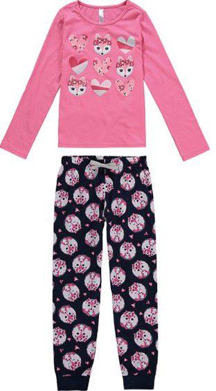 Pijama Infantil Raposinha Rosa e Azul Marinho - Malwee