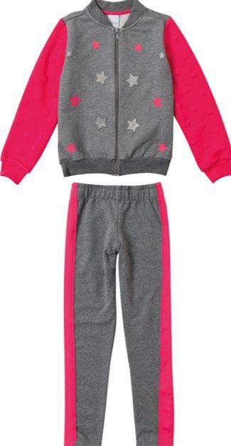 Conjunto Infantil JMoletom Estrelas Rosa e Cinza - Malwee