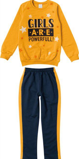 Conjunto Moletom Infantil Menina Amarelo e Azul Marinho - Malwee