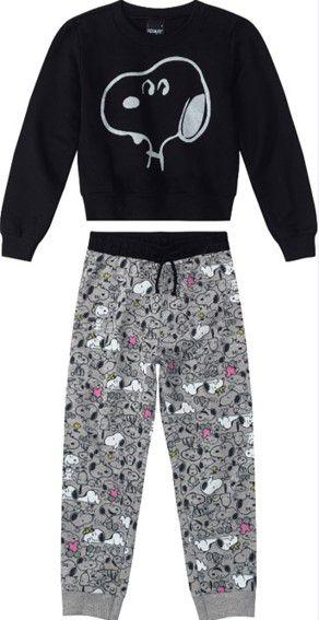 Conjunto Infantil Moletom Snoopy Cinza e Preto- Malwee
