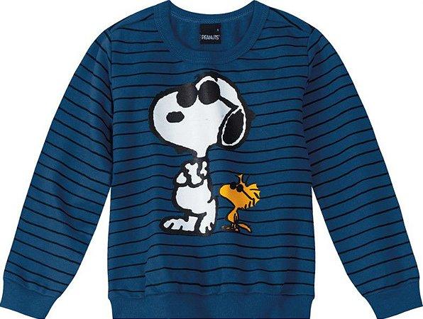 Moletom Infantil Snoopy e Woodstock Azul- Malwee