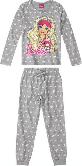Pijama Infantil Barbie Cinza - Malwee