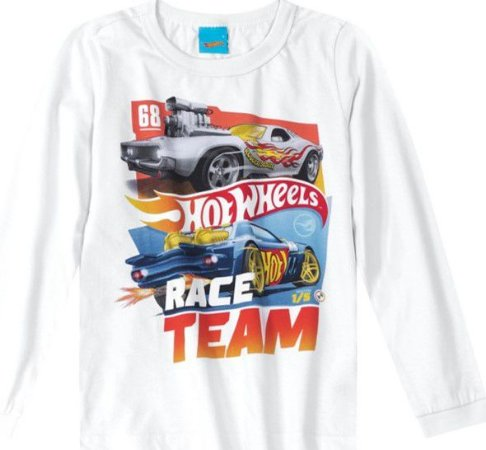 Camiseta Infantil Hot Wheels Branca - Malwee
