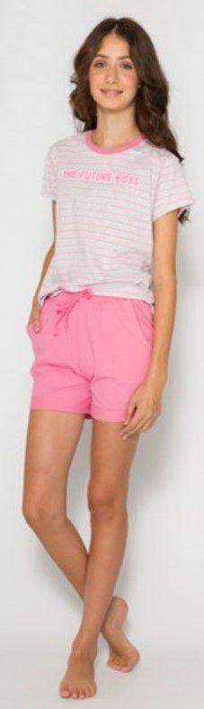 Pijama Juvenil Menina Future Boss Rosa - Coleção Família