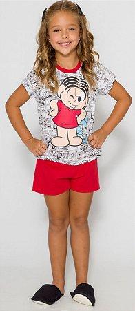 Pijama Infantil Mônica Vermelho - Coleção Mãe e Filha