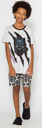 Pijama Juvenil Pantera Negra Cinza- Coleção Pai e Filho
