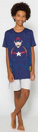 Pijama Juvenil Capitão América Azul Marinho Brilha Escuro - Coleção Pai e Filho