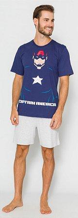 Pijama Adulto Capitão América Azul Marinho - Coleção Pai e Filho