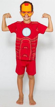 Pijama Infantil Homem de Ferro com Máscara Vermelho - Marvel